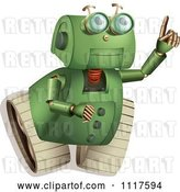 Vector Clip Art of Retro Green Rover Robot Pointing and Looking up by Graphics RF