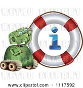 Vector Clip Art of Retro Green Rover Robot with an Information Life Buoy by Graphics RF