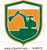 Vector Clip Art of Retro Green Silhouetted Excavator Machine in a Shield by Patrimonio