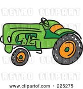 Vector Clip Art of Retro Green Sketched Tractor by Prawny