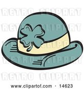 Vector Clip Art of Retro Green St Paddy's Day Hat with a Clover on It by Andy Nortnik