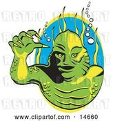 Vector Clip Art of Retro Green Swamp Monster with Yellow Talons and Scaly Skin, Breathing Underwater with Bubbles and Aquatic Plants Clipart Illustration by Andy Nortnik