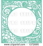 Vector Clip Art of Retro Green Swirl Floral Frame by BNP Design Studio
