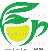 Vector Clip Art of Retro Green Tea Cup with Lemon and Leaves 1 by Vector Tradition SM