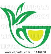 Vector Clip Art of Retro Green Tea Cup with Lemon and Leaves 5 by Vector Tradition SM