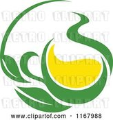 Vector Clip Art of Retro Green Tea Cup with Lemon and Leaves 6 by Vector Tradition SM