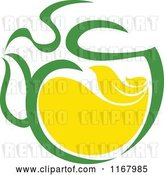 Vector Clip Art of Retro Green Tea Cup with Lemon and Leaves 8 by Vector Tradition SM
