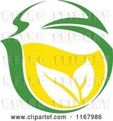 Vector Clip Art of Retro Green Tea Cup with Lemon and Leaves 9 by Vector Tradition SM