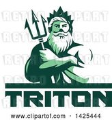 Vector Clip Art of Retro Green Toned Guy, Triton Mythological God, Holding a Trident in Folded Arms, over Text by Patrimonio