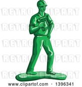 Vector Clip Art of Retro Green Toy Construction Worker Holding a Nail Gun by Patrimonio