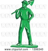 Vector Clip Art of Retro Green Toy Miner Worker Holding a Shovel by Patrimonio