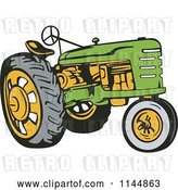 Vector Clip Art of Retro Green Tractor by Patrimonio
