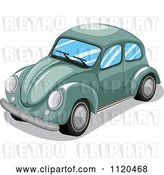Vector Clip Art of Retro Green VW Slug Bug Car by Graphics RF