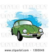 August 14th, 2018: Vector Clip Art of Retro Green VW Slug Bug Car over Blue Paint Strokes by Lal Perera