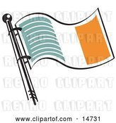 Vector Clip Art of Retro Green White and Orange Irish Flag Waving in the Breeze by Andy Nortnik