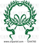Vector Clip Art of Retro Green Wreath with a Ribbon by Vector Tradition SM