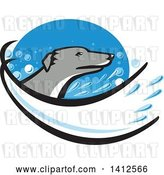 Vector Clip Art of Retro Greyhound Dog Head with a Splash of Water in a Blue Oval by Patrimonio