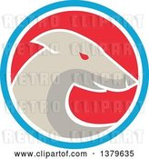 Vector Clip Art of Retro Greyhound Dog in a Blue White and Red Circle by Patrimonio