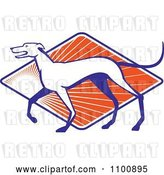 Vector Clip Art of Retro Greyhound Dog in Profile over a Diamond of Orange Rays by Patrimonio