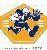 Vector Clip Art of Retro Gridiron American Football Player Running with the Ball over an Orange Shield by Patrimonio