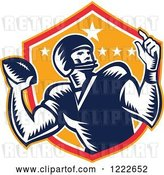 Vector Clip Art of Retro Gridiron American Football Player Throwing over a Red and Orange Shield by Patrimonio