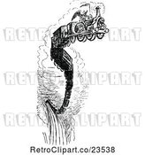 Vector Clip Art of Retro Grim Geaper on a Death Train by Prawny Vintage