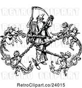 Vector Clip Art of Retro Grim Reaper Being Captured by Cherubs by Prawny Vintage