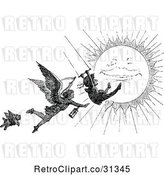 Vector Clip Art of Retro Grim Reaper Chasing a Swinging Guy over the Sun by Prawny Vintage