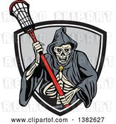 Vector Clip Art of Retro Grim Reaper Holding a Lacrosse Stick and Emerging from a Shield by Patrimonio