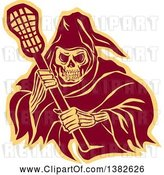 Vector Clip Art of Retro Grim Reaper Holding a Lacrosse Stick, in Brown and Yellow by Patrimonio