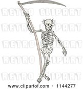 Vector Clip Art of Retro Grim Reaper Skeleton with a Scythe by Patrimonio