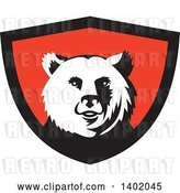Vector Clip Art of Retro Grizzly Bear Head in a Black and Red Shield by Patrimonio