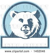 Vector Clip Art of Retro Grizzly Bear Head in a Blue and White Circle with Text Space by Patrimonio