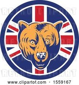 Vector Clip Art of Retro Grizzly Bear Head in a Union Jack Flag Circle by Patrimonio