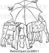 Vector Clip Art of Retro Group and Dog Under an Umbrella by Prawny Vintage