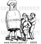 Vector Clip Art of Retro Group of Boys and a Barrel Man by Prawny Vintage