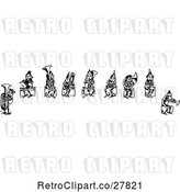 Vector Clip Art of Retro Group of Boys Playing Instruments by Prawny Vintage