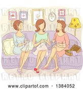 Vector Clip Art of Retro Group of Faceless White Lady Sewing Together by BNP Design Studio