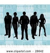 Vector Clip Art of Retro Group of Five Black Silhouetted People Standing over a Blue Background with Rectangle Designs by KJ Pargeter