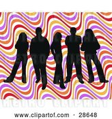Vector Clip Art of Retro Group of Five Black Silhouetted People Standing over a Colorful Wavy Background by KJ Pargeter