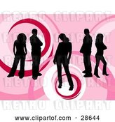 Vector Clip Art of Retro Group of Five Black Silhouetted People Standing over a Pink Background with Circle Designs by KJ Pargeter