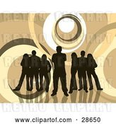 Vector Clip Art of Retro Group of Five Dark Brown Silhouetted People Standing over a Brown and White Background with Circles by KJ Pargeter