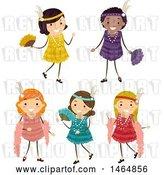 Vector Clip Art of Retro Group of Girls in Flapper Dresses by BNP Design Studio