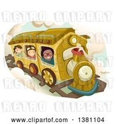 Vector Clip Art of Retro Group of Happy Children Riding a Steampunk Train by BNP Design Studio