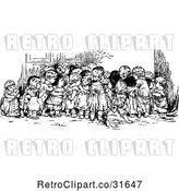 Vector Clip Art of Retro Group of Huddled KChildren Looking at Something by Prawny Vintage