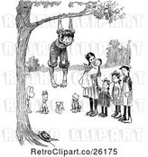 Vector Clip Art of Retro Group of KChildren and Dogs Playing at a Tree by Prawny Vintage