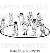 Vector Clip Art of Retro Group of KChildren Playing a Game by Prawny Vintage