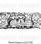 Vector Clip Art of Retro Group of KChildren with a Banner and Vine by Prawny Vintage