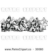 Vector Clip Art of Retro Group of Medieval People by Prawny Vintage