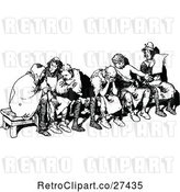 Vector Clip Art of Retro Group of Men on a Bench by Prawny Vintage